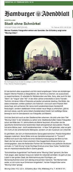 Abendblatt - moving cities Abendblatt, moving cities, Werner Pawlok, Photography,