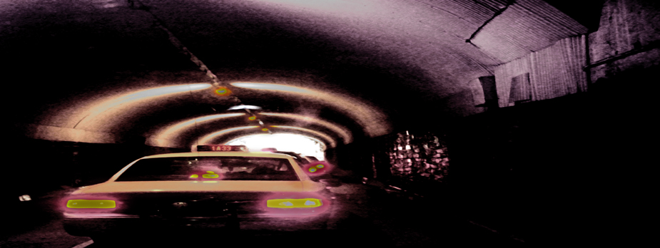 Tunnel moving cities, photo by werner pawlok, fine art photography, new york city, nyc, urbane stadtansichten, stadtszenen, tunnel, tunnel nyc, streetscene, strassenansicht nyc, cab driving